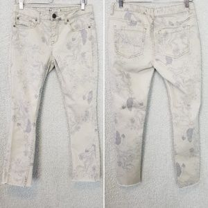 Free People Grey White Feather Print Skinny Jeans